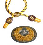 Officers Gold & Black Hat Cord And Sewn Grey CSA Badge